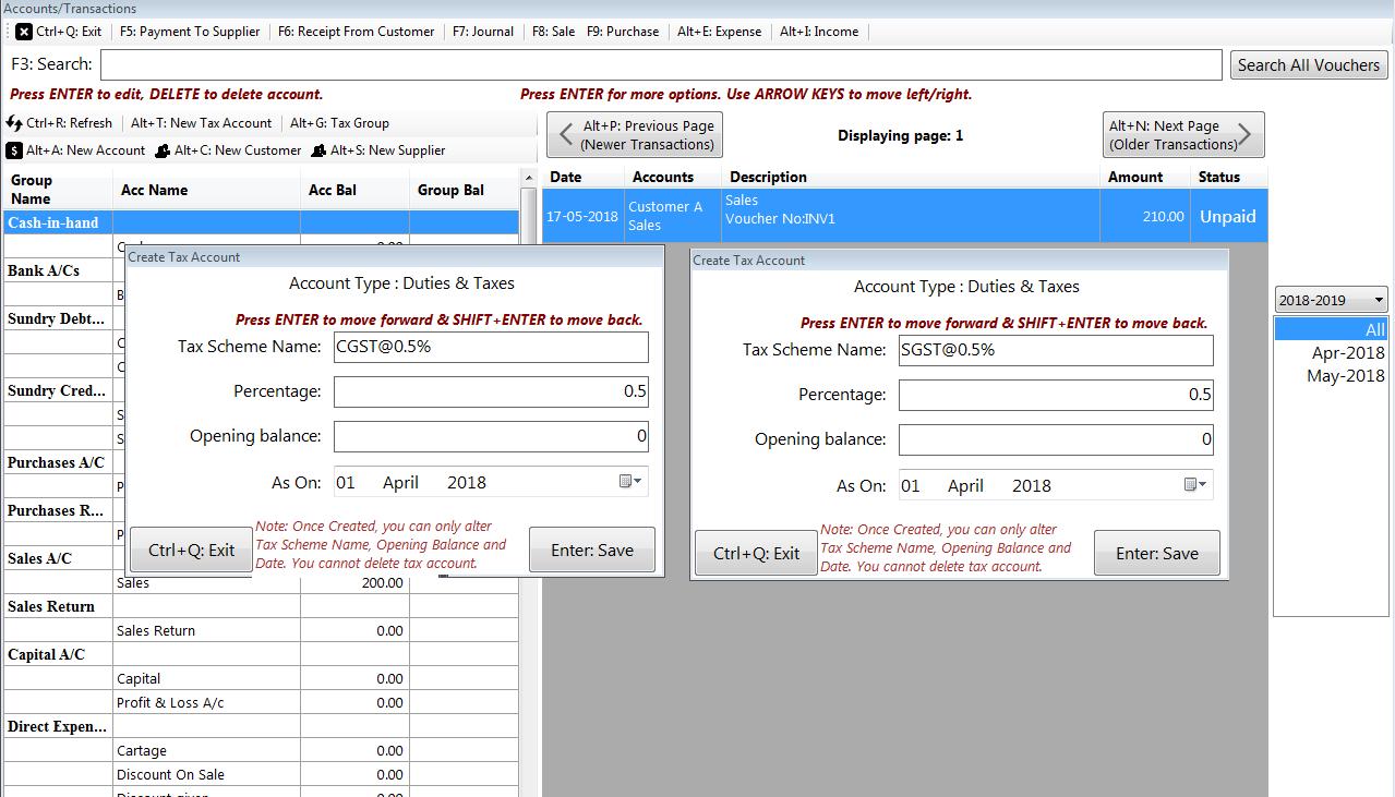 How to create Tax Group   GST@1%   GST@0 25%   CGST+SGST